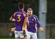 25 November 2018; Andrew McGowan, left, and David Nestor of Kilmacud Crokes celebrate after the AIB Leinster GAA Football Senior Club Championship semi-final match between Kilmacud Crokes and Portlaoise at Parnell Park in Dublin. Photo by Daire Brennan/Sportsfile