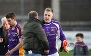25 November 2018; Kilmacud Crokes supporter Collie Murphy congratulates David Nestor of Kilmacud Crokes after the AIB Leinster GAA Football Senior Club Championship semi-final match between Kilmacud Crokes and Portlaoise at Parnell Park in Dublin. Photo by Daire Brennan/Sportsfile