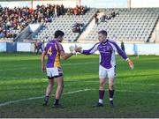 25 November 2018; Cian O'Sullivan of Kilmacud Crokes, left, congratulates team-mate David Nestor, after Nestor saved a late penalty, during the AIB Leinster GAA Football Senior Club Championship semi-final match between Kilmacud Crokes and Portlaoise at Parnell Park in Dublin. Photo by Daire Brennan/Sportsfile