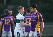 25 November 2018; Scott Lawless of Portlaoise shakes hands with Cian O'Sullivan of Kilmacud Crokes after the AIB Leinster GAA Football Senior Club Championship semi-final match between Kilmacud Crokes and Portlaoise at Parnell Park in Dublin. Photo by Daire Brennan/Sportsfile