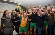25 November 2018; Corofin players celebrate in the changing room following the AIB Connacht GAA Football Senior Club Championship Final match between Ballintubber and Corofin at Elvery's MacHale Park in Castlebar, Mayo. Photo by David Fitzgerald/Sportsfile