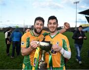 25 November 2018; Michael Lundy of Corofin, left, and Ian Burke of Corofin celebrate following the AIB Connacht GAA Football Senior Club Championship Final match between Ballintubber and Corofin at Elvery's MacHale Park in Castlebar, Mayo. Photo by David Fitzgerald/Sportsfile