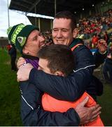 25 November 2018; Corofin manager Kevin O'Brien, centre, celebrates with waterman PJ Riley, left, and selector Joe Kenny following the AIB Connacht GAA Football Senior Club Championship Final match between Ballintubber and Corofin at Elvery's MacHale Park in Castlebar, Mayo. Photo by David Fitzgerald/Sportsfile