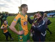 25 November 2018; Kieran Molloy of Corofin is congratulated by a supporter following the AIB Connacht GAA Football Senior Club Championship Final match between Ballintubber and Corofin at Elvery's MacHale Park in Castlebar, Mayo. Photo by David Fitzgerald/Sportsfile
