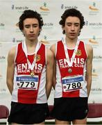 25 November 2018; Dean Casey, left, first place finisher with his brother Dylan, who finished fifth, both from Ennis Track A.C. after competing in the Boys U16 4,000m during the Irish Life Health National Senior & Junior Cross Country Championships at National Sports Campus in Abbottstown, Dublin. Photo by Harry Murphy/Sportsfile