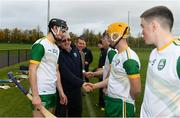 3 November 2018; Jimmy O'Dwyer is introduced to the Ireland team by captain Gerard Walsh before the U21 Hurling Shinty International 2018 match between Ireland and Scotland at Games Development Centre in Abbotstown, Dublin. Photo by Piaras Ó Mídheach/Sportsfile