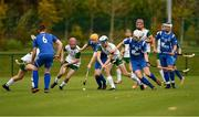 3 November 2018; Jack Sheridan of Ireland in action against Calum Shepherd of Scotland during the U21 Hurling Shinty International 2018 match between Ireland and Scotland at Games Development Centre in Abbotstown, Dublin. Photo by Piaras Ó Mídheach/Sportsfile