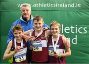 25 November 2018; CEO of Ryanair Michael O'Leary with his son, Luke O'Leary, right, Conor Liston, centre, and Matthew Molloy, left, of Mullingar Harriers A.C. after competing in the Boys U12 2,000m during the Irish Life Health National Senior & Junior Cross Country Championships at National Sports Campus in Abbottstown, Dublin. Photo by Harry Murphy/Sportsfile