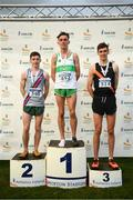 25 November 2018; Race winner Brian Fay of Raheny A.C., centre, with second place Paul O'Donnell of Dundrum South Dublin A.C., left, and Cathal Doyle of Clonliffe Harriers A.C., right after competing in the Senior Men U23's 10,000m during the Irish Life Health National Senior & Junior Cross Country Championships at National Sports Campus in Abbottstown, Dublin. Photo by Harry Murphy/Sportsfile