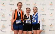 25 November 2018; Race winner Sarah Healy of Blackrock A.C.Dublin Co. Dublin, centre, second place Emma O'Brien of Sli Cualann A.C. Co. Wicklow, left, and Jodie Mccann of Dublin City Harriers A.C. Co. Dublin, right, after competing in the Girls 4000m during the Irish Life Health National Senior & Junior Cross Country Championships at National Sports Campus in Abbottstown, Dublin. Photo by Harry Murphy/Sportsfile