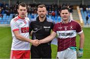 25 November 2018; Referee Anthony Nolan with Sean Gannon captain of Eire Og and Shane Mulligan captain of Mullinalaghta St Columba's before the AIB Leinster GAA Football Senior Club Championship semi-final match between Mullinalaghta St. Columba's and Eire Og at Glennon Brothers Pearse Park in Longford. Photo by Matt Browne/Sportsfile