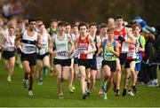25 November 2018; Abdel Laadjel of Donore Harriers Co. Meath, left, Sean Cotter of Craughwell A.C. Co. Galway, second left, Dean Casey of Ennis Track A.C. Co. Calrem centre, and Scott Fagan of Metro/St. Brigid's A.C. Co. Dublin, competing in the Boys U16 4,000m during the Irish Life Health National Senior & Junior Cross Country Championships at National Sports Campus in Abbottstown, Dublin. Photo by Harry Murphy/Sportsfile