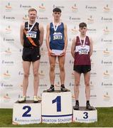 25 November 2018; Darragh Mcelhinney of Bantry A.C. Co. Cork, first, Sean O'Leary of Clonliffe Harriers A.C. Co. Dublin, second, and Jamie Battle of Mullingar Harriers A.C. Co. Westmeath, third, after the Boys U18/Jnr during the Irish Life Health National Senior & Junior Cross Country Championships at National Sports Campus in Abbottstown, Dublin. Photo by Harry Murphy/Sportsfile
