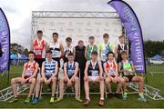 25 November 2018;  Boys U16 4,000m first 12 finishers pictured with Georgina Drumm, President of Athletics Ireland during the Irish Life Health National Senior & Junior Cross Country Championships at National Sports Campus in Abbottstown, Dublin. Photo by Harry Murphy/Sportsfile