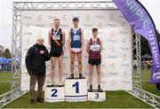 25 November 2018; Darragh Mcelhinney of Bantry A.C. Co. Cork, first, Sean O'Leary of Clonliffe Harriers A.C. Co. Dublin, second, and Jamie Battle of Mullingar Harriers A.C. Co. Westmeath, third with CEO of Sport Ireland John Treacy after the Boys U18/Jnr during the Irish Life Health National Senior & Junior Cross Country Championships at National Sports Campus in Abbottstown, Dublin. Photo by Harry Murphy/Sportsfile