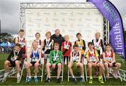 25 November 2018; The Boys U12 2,000m first 12 finishers pictured with Georgina Drumm, President of Athletics Ireland during the Irish Life Health National Senior & Junior Cross Country Championships at National Sports Campus in Abbottstown, Dublin. Photo by Harry Murphy/Sportsfile