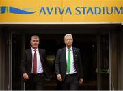 26 November 2018; Newly appointed Republic of Ireland U21 manager Stephen Kenny, left, and FAI High Performace Director Ruud Dokter following a press conference at Aviva Stadium in Dublin. Photo by Stephen McCarthy/Sportsfile