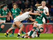 24 November 2018; Claire Molloy of Ireland is tackled by Abbie Scott and Vicky Felletwood, behind, of England during the Women's International Rugby match between England and Ireland at Twickenham Stadium in London, England. Photo by Matt Impey/Sportsfile