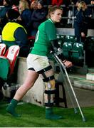 24 November 2018; Nikki Caughey of Ireland leaves the pitch on crutches after the Women's International Rugby match between England and Ireland at Twickenham Stadium in London, England. Photo by Matt Impey/Sportsfile