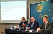 27 November 2018; Uachtarán Chumann Lúthchleas Gael John Horan, centre, speaking alongside Fergal McGill, Director of Player, Club & Games Administration, left, and David Hassan, Chairman of the Standing Committee on Playing Rules, right, during an Experimental Football Rule Changes media briefing at Croke Park in Dublin. Photo by Seb Daly/Sportsfile