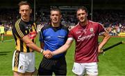 8 July 2018; Referee James Owens with team captains Cillian Buckley of Kilkenny, left, and David Burke of Galway prior to the Leinster GAA Hurling Senior Championship Final Replay match between Kilkenny and Galway at Semple Stadium in Thurles, Co Tipperary. Photo by Brendan Moran/Sportsfile