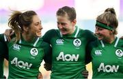 18 November 2018; Ireland players, from left, Eimear Considine, Lauren Delany and Emma Hooban ahead of the Women's International Rugby match between Ireland and USA at Energia Park in Donnybrook, Dublin. Photo by Ramsey Cardy/Sportsfile