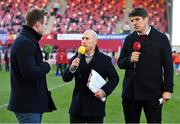 27 October 2018; Eir Sport analysts Peter Stringer, centre, and Donncha O'Callaghan, with presenter Tommy Bowe, left, during the Guinness PRO14 Round 7 match between Munster and Glasgow Warriors at Thomond Park, Limerick. Photo by Brendan Moran/Sportsfile