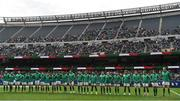 3 November 2018; The Ireland team line up prior to the International Rugby match between Ireland and Italy at Soldier Field in Chicago, USA. Photo by Brendan Moran/Sportsfile