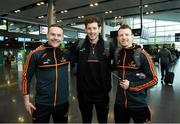 29 November 2018; Mayo players, from left, Andy Moran, David Clarke and Colm Boyle in attendance at Dublin Airport prior to their departure to the PwC All Stars tour in Philadelphia, USA. Photo by David Fitzgerald/Sportsfile