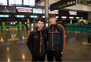29 November 2018; Ryan McHugh of Donegal, left, and David Clifford of Kerry in attendance at Dublin Airport prior to their departure to the PwC All Stars tour in Philadelphia, USA. Photo by David Fitzgerald/Sportsfile