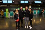 29 November 2018; Dublin players Brian Howard, left, with his girlfriend Eimear Nolan and Con O'Callaghan with his girlfriend Aoife Kane in attendance at Dublin Airport prior to their departure to the PwC All Stars tour in Philadelphia, USA. Photo by David Fitzgerald/Sportsfile