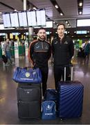 29 November 2018; Tyrone players Pádraig Hampsey, left, and Colm Cavanagh in attendance at Dublin Airport prior to their departure to the PwC All Stars tour in Philadelphia, USA. Photo by David Fitzgerald/Sportsfile
