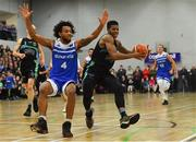 10 November 2018; Jordan Evans of Garvey's Tralee Warriors in action against Mike Daid of Belfast Star during the Basketball Ireland Men's Superleague match between Garvey's Tralee Warriors and Belfast Star at Tralee Sports Complex in Tralee, Co Kerry. Photo by Piaras Ó Mídheach/Sportsfile