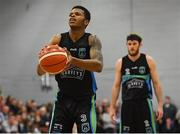 10 November 2018; Jordan Evans of Garvey's Tralee Warriors prepares to take a free throw during the Basketball Ireland Men's Superleague match between Garvey's Tralee Warriors and Belfast Star at Tralee Sports Complex in Tralee, Co Kerry. Photo by Piaras Ó Mídheach/Sportsfile