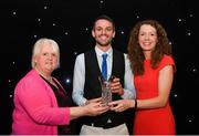 29 November 2018; Track and Field Athlete of the Year Thomas Barr is presented with his award by, Georgina Drumm, President of Athletics Ireland, left, and Liz Rowen, Head of Marketing at Irish Life Health during the Irish Life Health National Athletics Awards 2018 at the Crowne Plaza Hotel in Blanchardstown, Dublin. Photo by Eóin Noonan/Sportsfile