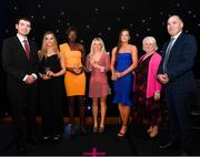 29 November 2018; Team of the Year Award winners, Women's 4x100m Relay Team, Lauren Roy, Rhasidat Adeleke, Molly Scott and Ciara Neville are presented with their awards by, from left, Minister Brendan Griffin, Georgina Drumm, President of Athletics Ireland & Jim Dowdall, Managing Director at Irish Life Health, during the Irish Life Health National Athletics Awards 2018 at the Crowne Plaza Hotel in Blanchardstown, Dublin. Photo by Eóin Noonan/Sportsfile