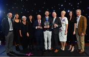 29 November 2018;  Athlete of the Year, Thomas Barr, centre, Special Recognition Award Winner, Frank Greally, centre left, and Outstanding Official Award Winner, Sean Callan, centre right, with family and friends during the Irish Life Health National Athletics Awards 2018 at the Crowne Plaza Hotel in Blanchardstown, Dublin. Photo by Sam Barnes/Sportsfile