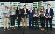 29 November 2018; Team manager James Kernan, centre, with Joanne Hurley from GAIN and HSI CEO Ronan Murphy with ftom left Ciaran Foley, Sarah Fitzgerald, Lucy Moreton, Isobel Hughes Kennedy, Rhys Williams during the Team Ireland Equestrian Medal Reception at Druids Glen Hotel in Co Wicklow. Photo by Matt Browne/Sportsfile