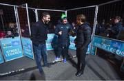 29 November 2018; Footballing legends Robert Pirès, left, and Gaizka Mendieta, right, with FAI Development Officer Mark Kenny, were in Dublin to showcase their skills at the Street Legends Community Football Event on Mountjoy Square South. The Street Football Community Football event is a joint initiative by Dublin City Council and the Football Association of Ireland ahead of the UEFA EURO 2020 Qualifying Draw in the Convention Centre on Sunday, 2nd December. The Street Legends Community Football Events kicked off on Wednesday, November 28. Other key activations include: Street Legends Community Football, Saturday, December 1, 3pm to 6pm, Commons Street, Dublin 1 with Portuguese legends Nuno Gomes and Vítor Baía. National Football Exhibition, Sunday, December 2 to Sunday, December 9, 11am-7pm, The Printworks, Dublin Castle Both events are free to attend and open to all ages and abilities. Photo by Stephen McCarthy/Sportsfile