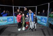 29 November 2018; Former Republic of Ireland international Wes Hoolahan, right, was in attendance as Footballing legends Robert Pires, centre, and Gaizka Mendieta, with participants, from left, Carly Norris, age 9, Clayton Ward, age 9, Christian Mansfield, age 8 and Aron Smith, age 9, were in Dublin to showcase their skills at the Street Legends Community Football Event on Mountjoy Square South. The Street Football Community Football event is a joint initiative by Dublin City Council and the Football Association of Ireland ahead of the UEFA EURO 2020 Qualifying Draw in the Convention Centre on Sunday, 2nd December. The Street Legends Community Football Events kicked off on Wednesday, November 28. Other key activations include: Street Legends Community Football, Saturday, December 1, 3pm to 6pm, Commons Street, Dublin 1 with Portuguese legends Nuno Gomes and Vítor Baía. National Football Exhibition, Sunday, December 2 to Sunday, December 9, 11am-7pm, The Printworks, Dublin Castle Both events are free to attend and open to all ages and abilities. Photo by Stephen McCarthy/Sportsfile