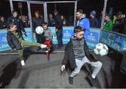 29 November 2018; Former Republic of Ireland international Wes Hoolahan, right and Footballing legend Gaizka Mendieta with participants, from left, Clayton Ward, age 9, Christian Mansfield, age 8, and Aron Smith, age 9, in attendance as Footballing legends Robert Pires & Gaizka Mendieta were in Dublin to showcase their skills at the Street Legends Community Football Event on Mountjoy Square South. The Street Football Community Football event is a joint initiative by Dublin City Council and the Football Association of Ireland ahead of the UEFA EURO 2020 Qualifying Draw in the Convention Centre on Sunday, 2nd December. The Street Legends Community Football Events kicked off on Wednesday, November 28. Other key activations include: Street Legends Community Football, Saturday, December 1, 3pm to 6pm, Commons Street, Dublin 1 with Portuguese legends Nuno Gomes and Vítor Baía. National Football Exhibition, Sunday, December 2 to Sunday, December 9, 11am-7pm, The Printworks, Dublin Castle Both events are free to attend and open to all ages and abilities. Photo by Stephen McCarthy/Sportsfile
