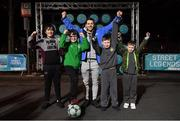 29 November 2018; Former Republic of Ireland international Wes Hoolahan with participants, from left, Matthew Rafferty, age 13, Hugh Moore, age 9, Scott Dunne, age 11, and Terry Dunne, age 8, in attendance as Footballing legends Robert Pires & Gaizka Mendieta were in Dublin to showcase their skills at the Street Legends Community Football Event on Mountjoy Square South. The Street Football Community Football event is a joint initiative by Dublin City Council and the Football Association of Ireland ahead of the UEFA EURO 2020 Qualifying Draw in the Convention Centre on Sunday, 2nd December. The Street Legends Community Football Events kicked off on Wednesday, November 28. Other key activations include: Street Legends Community Football, Saturday, December 1, 3pm to 6pm, Commons Street, Dublin 1 with Portuguese legends Nuno Gomes and Vítor Baía. National Football Exhibition, Sunday, December 2 to Sunday, December 9, 11am-7pm, The Printworks, Dublin Castle Both events are free to attend and open to all ages and abilities. Photo by Stephen McCarthy/Sportsfile