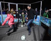 29 November 2018; Footballing legend Robert Pires, with participants, from left, Carly Norris, age 9, Aron Smith, age 9, Clayton Ward, age 9, and Christian Mansfield, age 8, were in Dublin to showcase their skills at the Street Legends Community Football Event on Mountjoy Square South. The Street Football Community Football event is a joint initiative by Dublin City Council and the Football Association of Ireland ahead of the UEFA EURO 2020 Qualifying Draw in the Convention Centre on Sunday, 2nd December. The Street Legends Community Football Events kicked off on Wednesday, November 28. Other key activations include: Street Legends Community Football, Saturday, December 1, 3pm to 6pm, Commons Street, Dublin 1 with Portuguese legends Nuno Gomes and Vítor Baía. National Football Exhibition, Sunday, December 2 to Sunday, December 9, 11am-7pm, The Printworks, Dublin Castle Both events are free to attend and open to all ages and abilities. Photo by Stephen McCarthy/Sportsfile