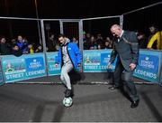 29 November 2018; Former Republic of Ireland international Wes Hoolahan and Lord Mayor of Dublin Nial Ring in attendance as footballing legends Robert Pirès and Gaizka Mendieta were in Dublin to showcase their skills at the Street Legends Community Football Event on Mountjoy Square South. The Street Football Community Football event is a joint initiative by Dublin City Council and the Football Association of Ireland ahead of the UEFA EURO 2020 Qualifying Draw in the Convention Centre on Sunday, 2nd December. The Street Legends Community Football Events kicked off on Wednesday, November 28. Other key activations include: Street Legends Community Football, Saturday, December 1, 3pm to 6pm, Commons Street, Dublin 1 with Portuguese legends Nuno Gomes and Vítor Baía. National Football Exhibition, Sunday, December 2 to Sunday, December 9, 11am-7pm, The Printworks, Dublin Castle Both events are free to attend and open to all ages and abilities. Photo by Stephen McCarthy/Sportsfile