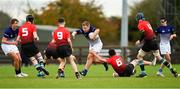 31 October 2018; Peter O'Neill of Metropolitan Area is tackled by Joshua O'Hare of North East Area during the U16s 2nd Round Shane Horgan Cup match between North East Area and Metropolitan Area at Ashbourne RFC in Ashbourne, Co Meath. Photo by Piaras Ó Mídheach/Sportsfile