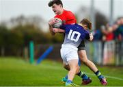 31 October 2018; Adam Duffy of North East Area is tackled by Kyle Sheehy of Metropolitan Area during the U16s 2nd Round Shane Horgan Cup match between North East Area and Metropolitan Area at Ashbourne RFC in Ashbourne, Co Meath. Photo by Piaras Ó Mídheach/Sportsfile