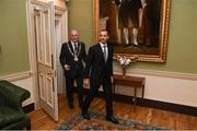 30 November 2018; Lord Mayor of Dublin Nial Ring, left, and UEFA President Aleksander Ceferin arrive at a EURO88 Republic of Ireland squad reception at the Mansion House in Dublin. Photo by Stephen McCarthy/Sportsfile