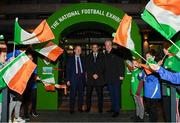 30 November 2018; To celebrate Dublin's hosting of the UEFA EURO 2020 Qualifying Draw on 2nd December 2018, Irish Football Legends Ronnie Whelan, Ray Houghton, Kevin Sheedy, Tony Galvin, Liam O'Brien, Tony Cascarino and John Anderson teamed up with Dublin City Council and the Football Association of Ireland to launch the National Football Exhibition giving people the chance to experience some of the excitement. Open to the public on Sunday, December 2nd, at the Printworks, Dublin Castle, until the 9th December, the Exhibition celebrates 60 years of UEFA European Championship and Irish football. Six separate zones, packed with memorabilia and interactive features will give attendees an overview of the history of football in Ireland and its impact on communities around the country. Throughout 2019 and 2020, the National Football Exhibition will tour around various locations* nationwide. The National Football Exhibition App is available to download now from the App Store and Google Play Store. The draw for the UEFA EURO 2020 qualifying groups this Sunday, 2nd December, will be attended by delegates from all 55 UEFA member nations and over 350 international media representatives with an estimated TV audience worldwide of 140 million. 4 tournament games will be hosted at Dublin's Aviva Stadium during UEFA EURO 2020, the largest sporting event to ever be hosted in the country. Pictured are, from left, Minister for Transport, Tourism and Sport, Shane Ross T.D., UEFA President Aleksander Ceferin, and John Delaney, CEO, Football Association of Ireland, at the Printworks, Dublin Castle, Dublin. Photo by Stephen McCarthy/Sportsfile