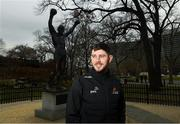 30 November 2018; Donegal's Ryan McHugh poses for a portrait at the 'Rocky Statue' beside the Philadelphia Museum of Art during the PwC All Stars tour of Philadelphia, PA in the USA. Photo by Ray McManus/Sportsfile