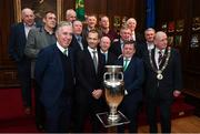 30 November 2018; Members of the EURO88 Republic of Ireland squad with, front row from left, John Delaney, CEO, Football Association of Ireland, UEFA President Aleksander Ceferin, FAI President Donal Conway and Lord Mayor of Dublin Nial Ring, with the Henri Delaunay trophy in attendance at a EURO88 Republic of Ireland squad reception at the Mansion House in Dublin. Photo by Stephen McCarthy/Sportsfile